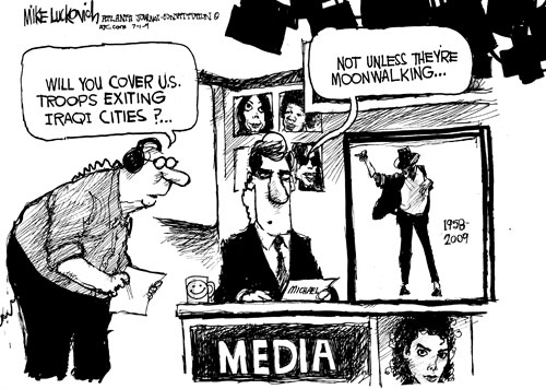 Moonwalking all over the news - Cartoon © 2009 Creators Syndicate