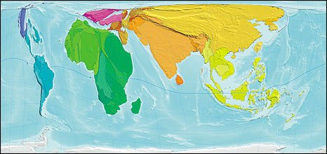World map proportionate to number of poor people in each country/region - from Atlas of the Real World