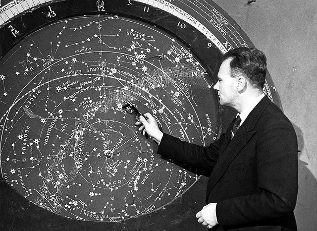 A younger Patrick Moore presenting BBC Sky at Night show around 1960