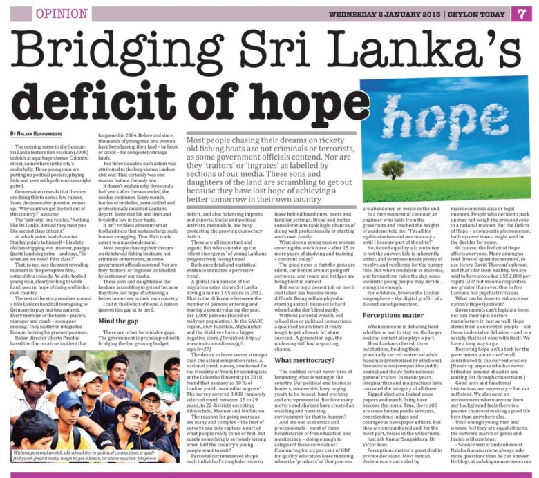 Bridging Sri Lanka's Deficit of Hope by Nalaka Gunawardene - Ceylon Today, 2 Jan 2013