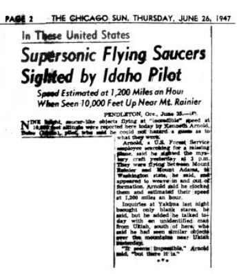 Chicago Sun, 26 June 1947 - the original Flying Saucer report
