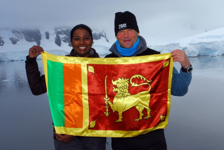 Imalka de Silva with Sir Robert Swan in Antarctica, March 2010