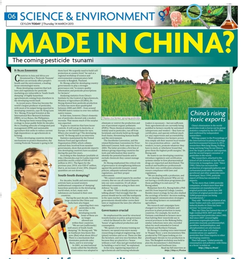 Ceylon Today, 14 March 2013 - The Coming Pesticide Tsunami - Made in China