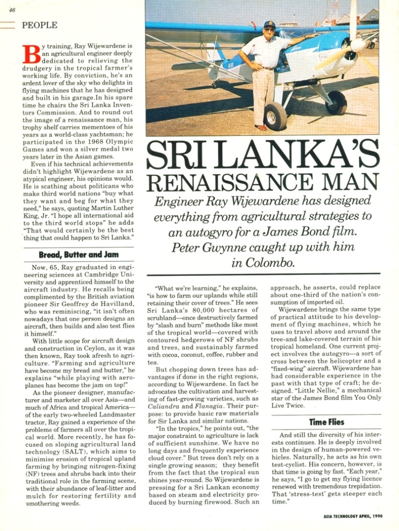 Ray Wijewardene profiled in Asia Technology, April 1990