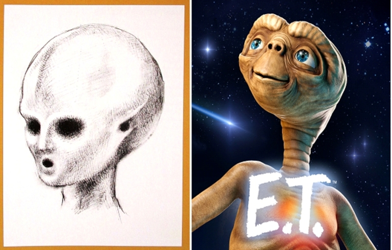 Satyajit Ray's drawing of the friendly Alien, sketched for 1967 draft screenplay & ET in 1982