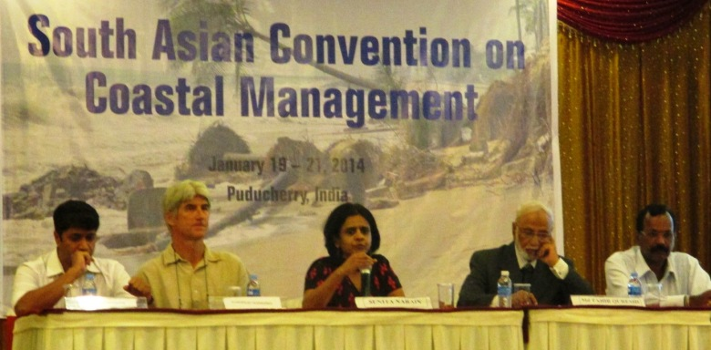 South Asia Coastal Management Convention in Pondicherry - L to R Chandra Bhushan, Aurofilio Schiavina, Sunita Narain, Tahir Qureshi, Anil Premaratne