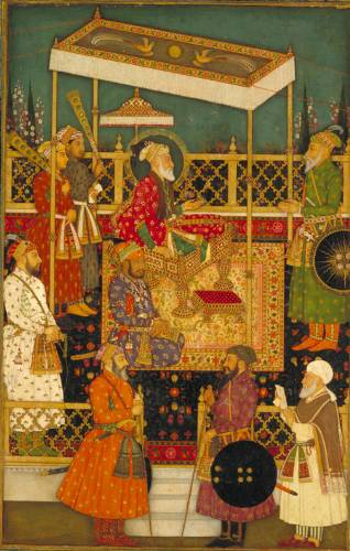 Aurangzeb seated on the Peacock Throne