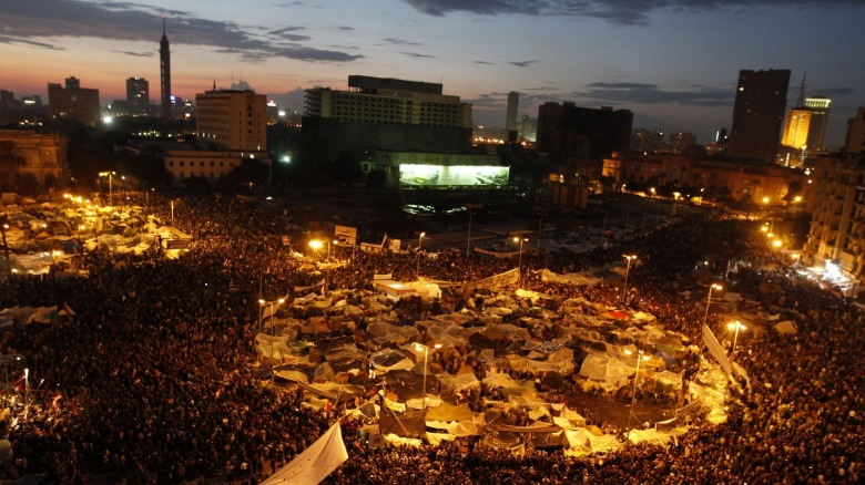 Anti-government demonstrators crowd Cairo's Tahrir Square in February 2011