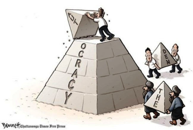 Replace autocracy with democracy or theocracy? Changing the top isn't that easy! Cartoon by Clay Bennett on 1 February 2011. Cartoon courtesy timesfreepress.com