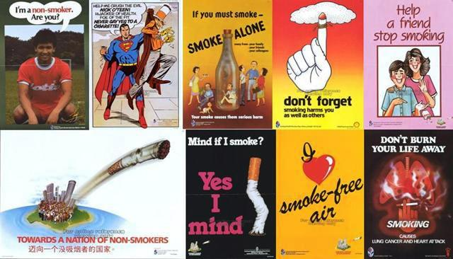 Singapore's Anti-smoking campaign posters used in the 1970s and 1980s. Images courtesy - http://remembersingapore.org/2013/01/18/singapore-campaigns-of-the-past/