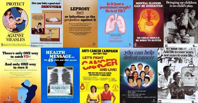 Posters used by Singapore's public-health campaigns in the 1970s and 1980s - Images courtesy - http://remembersingapore.org/2013/01/18/singapore-campaigns-of-the-past/