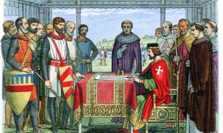 King John seals the Magna Carta on 15 June 1215. Photo by Universal History