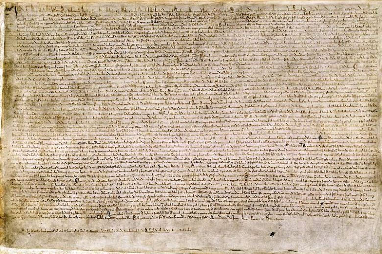 The Magna Carta of 1215, written in iron gall ink on parchment in medieval Latin, using standard abbreviations of the period, authenticated with the Great Seal of King John (image courtesy Wikipedia)