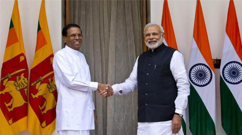 Sri Lanka's President Maithripala Sirisena meets Indian Prime Minister Narendra Modi in New Delhi, 16 Feb 2015