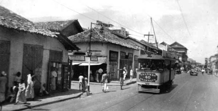An electric-powered tramcar in Colombo in the early 20th century