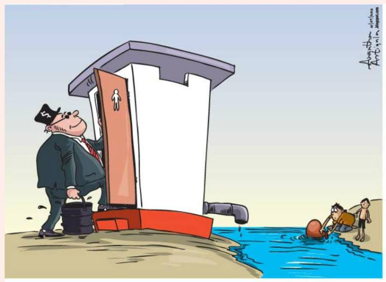 Rich polluters and poor water users - Cartoon by Awantha Artigala