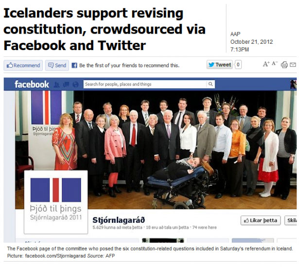 Facebook was used as part of a public consultation strategy to draft Iceland's new Constitution in 2011-13