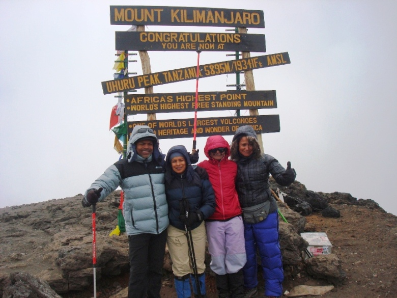 At the Summit of Kilimanjaro, highest peak in Africa - Johann Peries on extreme left Jayanthi Kuru-Utumpala 3rd from left
