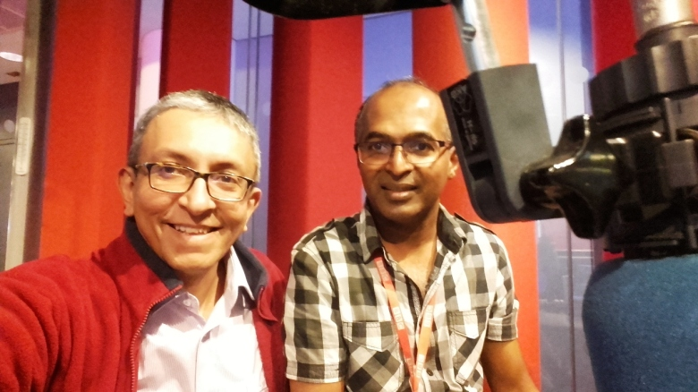 Nalaka Gunawardene (left) with BBC journalist Saroj Pathirana at BBC Broadcasting House in London on 21 June 2016