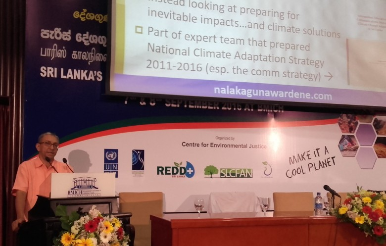 Nalaka Gunawardene speaks at national conference on Sri Lanka's readiness for implementing the Paris Agreement. BMICH Colombo, 8 September 2016